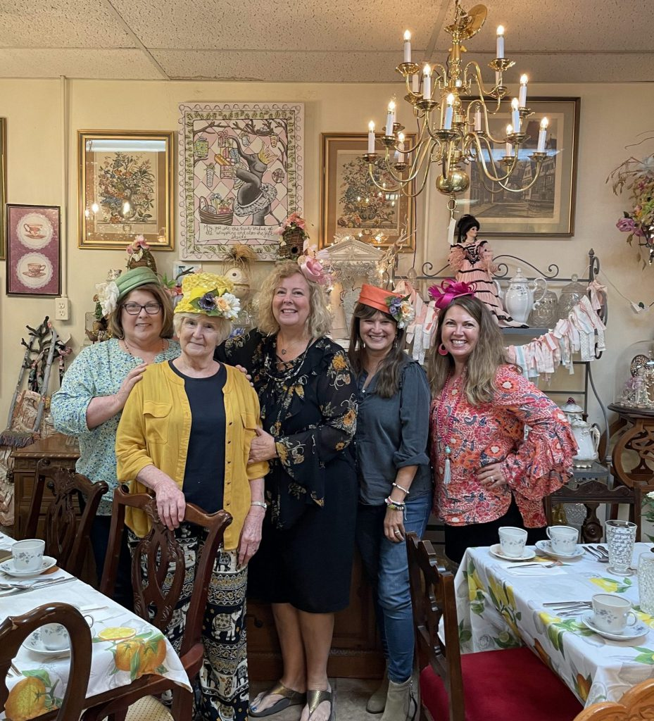 Marilyn and friends at tea