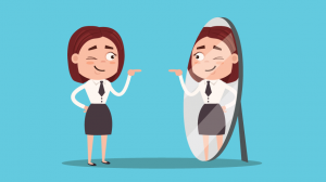 The Importance of positive self image. Cartoon of woman looking in the mirror.